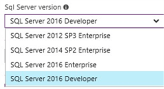 SQL Server versions available for Azure