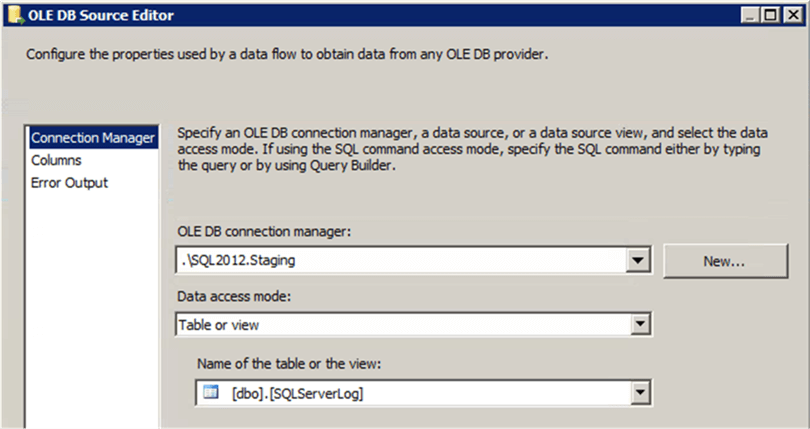 SSIS OLEDB Source View - Description: OLEDB Source View