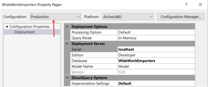 configurations dropdown