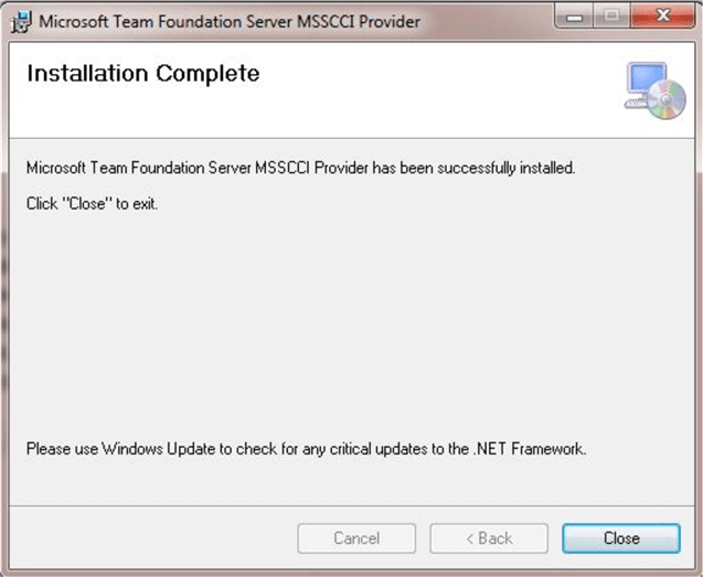 Microsoft Team Foundation Server Plug-in Installation Complete