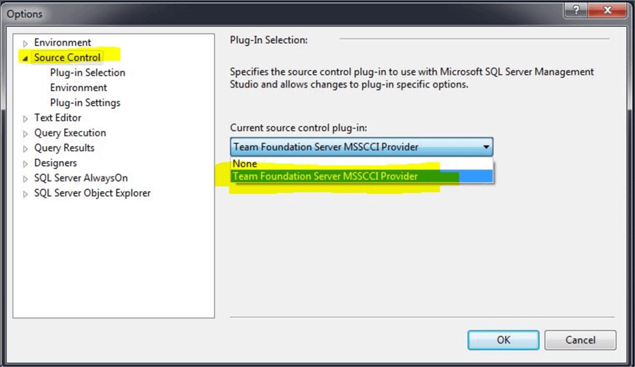 Select the Team Foundation Server Plug-in in SSMS