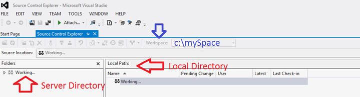 source control folders mapped in Visual Studio 2012 Shell