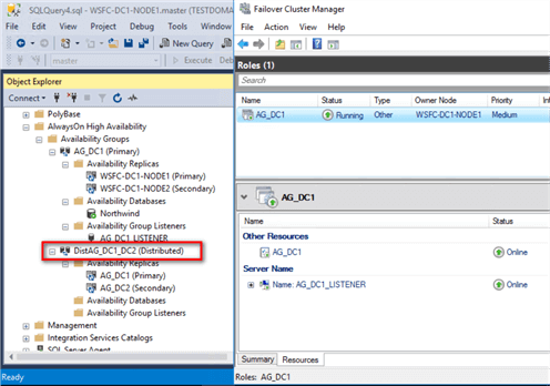 Review the Distributed Availability Group by expanding the Availability Groups folder in SSMS. Notice the word Distributed appended to the Distributed Availability Group.