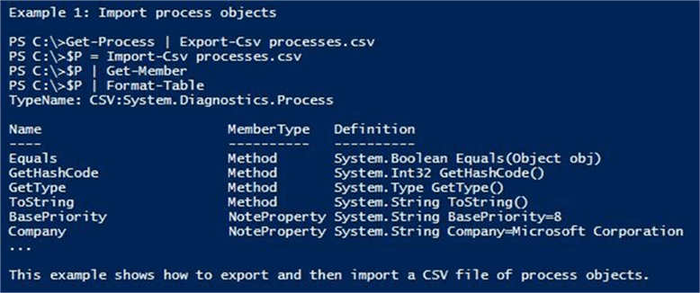 Export-Csv cmdlet - Description: Extended help using the -Detailed option of the Get-Help cmdlet.
