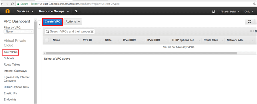 "On ""Your VPCs"" page click Create VPC.  - Description: On ""Your VPCs"" page click Create VPC."