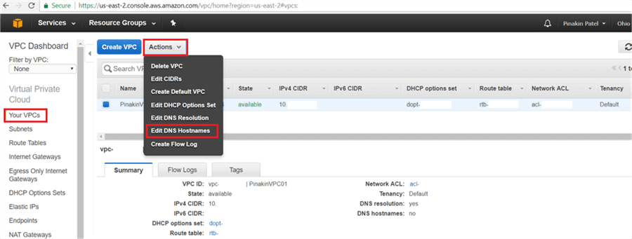Your VPCs page, select the VPC to change the DNS hostname and go to the Actions and click on Edit DNS Hostnames - Description: On Your VPCs page, select the VPC to change the DNS hostname and go to the Actions and click on Edit DNS Hostnames.