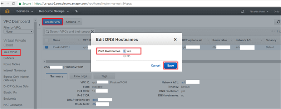 On Edit DNS Hostnames dialog box select Yes and Save it. - Description: On Edit DNS Hostnames dialog box select Yes and Save it.