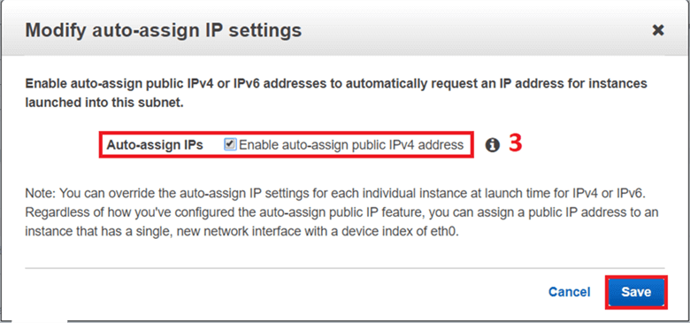 On Modify auto-assign IP setting dialog box, check auto-assign IPs and click on Save. - Description: On Modify auto-assign IP setting dialog box, check auto-assign IPs and click on Save.