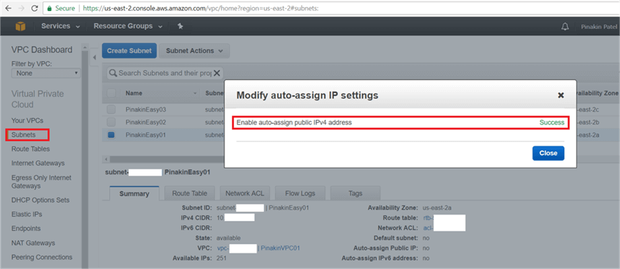 Success message will appear once the Modify auto-assign IP Setting is done.  - Description: Success message will appear once the Modify auto-assign IP Setting is done.