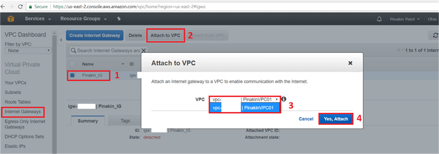 On Attach to VPC Dialog Box, select the VPC and click on Yes, Attach.  - Description: On Attach to VPC Dialog Box, select the VPC and click on Yes, Attach.