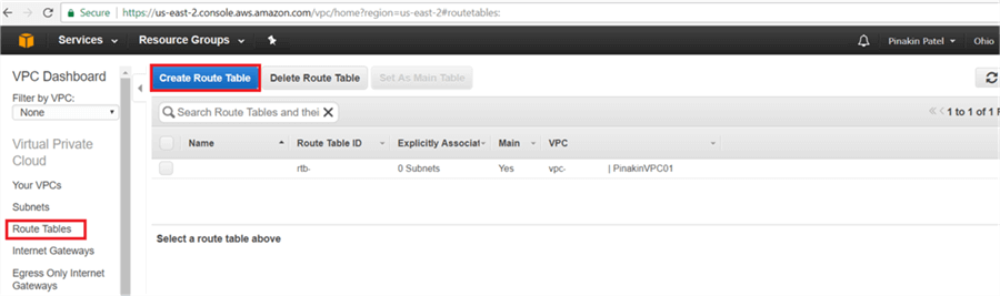 On Route Table page, click on Create Route Table. - Description: On Route Table page, click on Create Route Table.