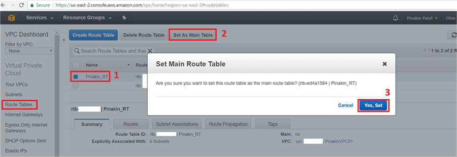 On Set Main Route Table dialog box click Yes, Set. - Description: On Set Main Route Table dialog box click Yes, Set.