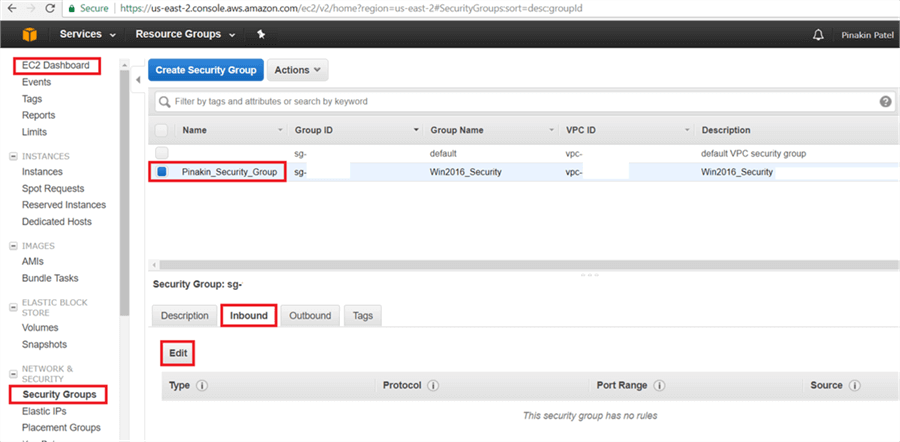 On EC2 Dashboard page, go to the Security Groups and select newly created security group, then go to the Inbound Tab and click on Edit. - Description: On EC2 Dashboard page, go to the Security Groups and select newly created security group, then go to the Inbound Tab and click on Edit.
