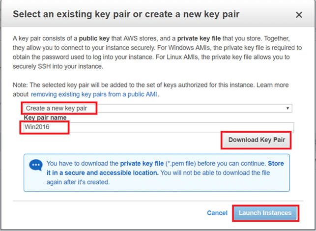 On Select an existing key pair or create a new key pair dialog box  click on create new key pair or select an existing key pair and give key pair name and click on download to download key pair. (Save the key pair in secured location). Hit Launch Instance. - Description: On Select an existing key pair or create a new key pair dialog box  click on create new key pair or select an existing key pair and give key pair name and click on download to download key pair. (Save the key pair in secured location). Hit Launch Instance.
