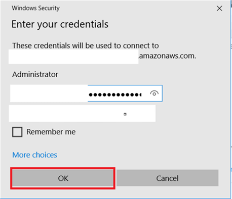Double click on Downloaded Remote Desktop File and add the credential and hit Connect.  - Description: Double click on Downloaded Remote Desktop File and add the credential and hit Connect.