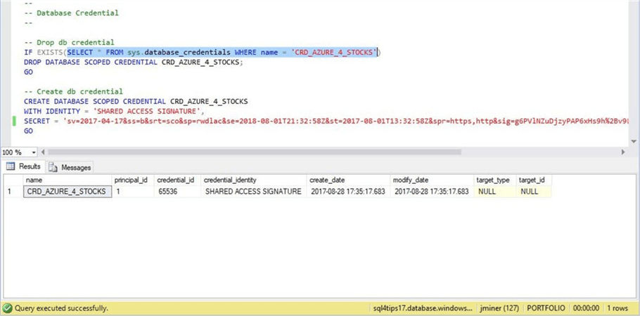 SSMS - Database Credential - Description: Using the SAS token to define the credential.