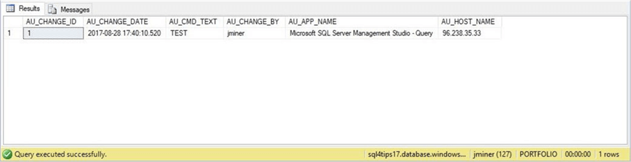 SSMS - Audit Table - Description: It is very important to use an audit table for future debugging.