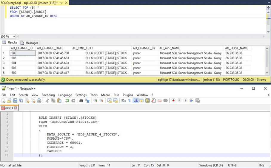 SSMS - Executing load from blob storage S.P. - Description: The audit table contains a track of our actions.
