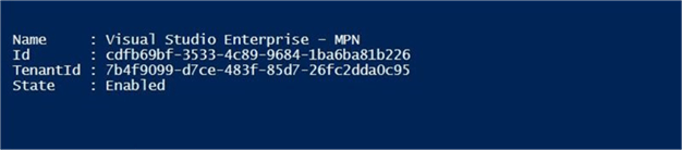 Azure SQL DW & PolyBase - Subscription - Description: Screen shot from PowerShell ISE showing Azure subscription.
