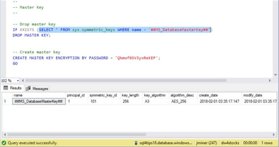 Azure SQL DW & PolyBase - Master Key - Description: Screen shot from SSMS showing the master key for the logical server.