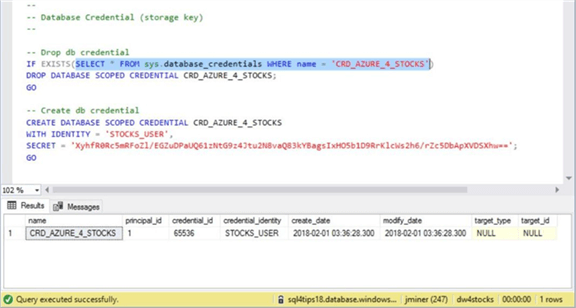 Azure SQL DW & PolyBase - Database Credential - Description: Screen shot from SSMS showing the database credential.