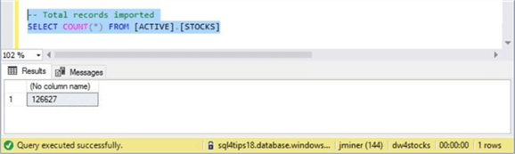 Azure SQL DW & PolyBase - Staging Table Record Count - Description: Screen shot from SSMS showing the total number of records in the staging table.