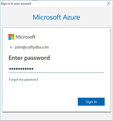 Sign into the azure subscription.