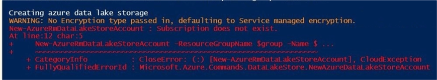 The Azure Data Lake is not a namespace.