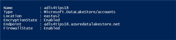 A screen shot of the new Azure Data Lake Storage account.