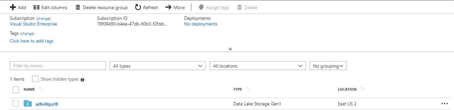 The new ADLS account shown in the Azure Portal.