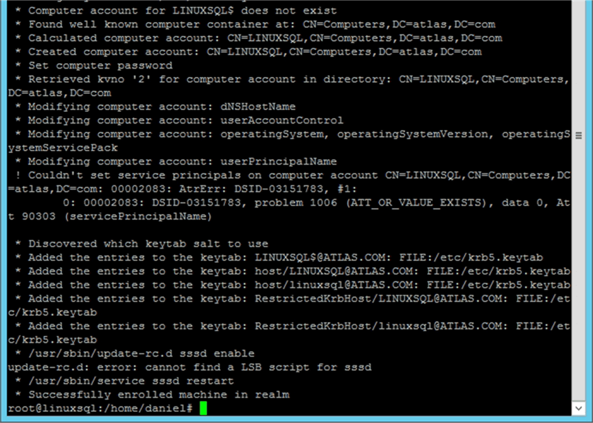Joining the Server into Active Directory part two. - Description: This is what you may expect to see when joining a Linux server into Active Directory.