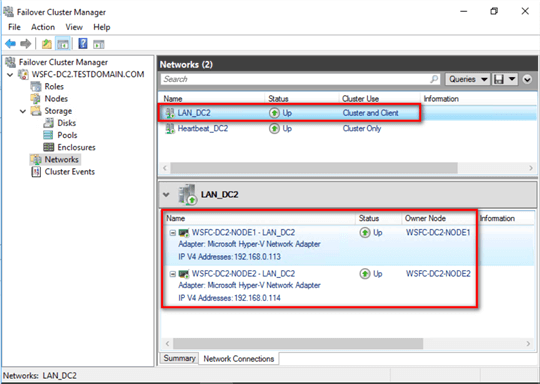 failover cluster manager LAN configuration
