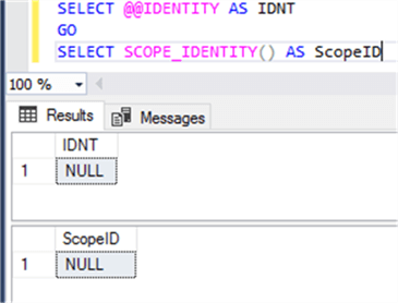 check the @@IDENTITY and SCOPE_IDENTITY functions results in a separate query window