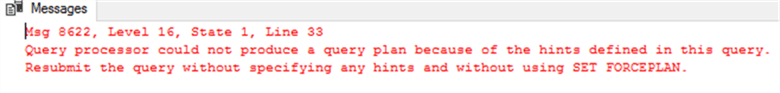 Failed SQL Server Query Plan Hinting the Filtered Index