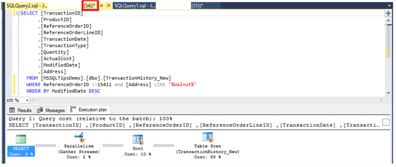 SQL Server Query Plan for Session 54
