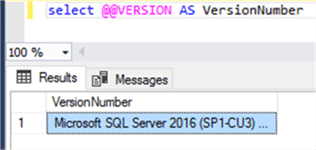 SQL Server 2016 (SP1-CU3) is the version