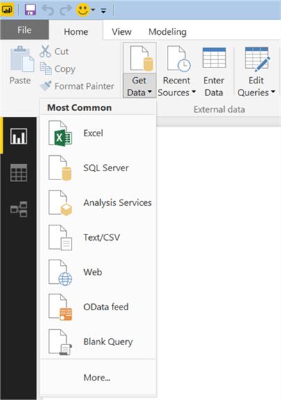 Get Data Menu in PowerBI - Description: Menu