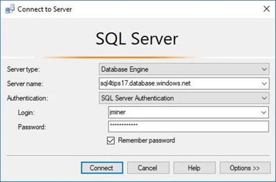 SSMS - Connect to server - Description: Starting our POC effort.