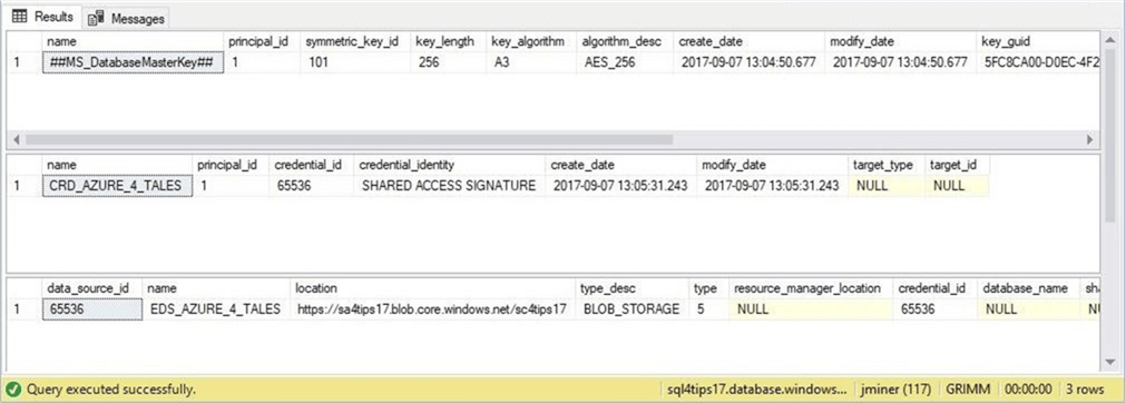 SSMS - New external data source objects - Description: Show the master key, database credential and external data source.