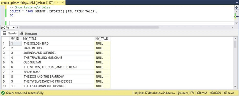 SSMS - Table without tales - Description: The table currently has not text data.