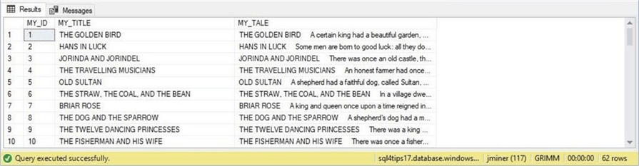 SSMS - Table without tales - Description: The table now has text data for the tales field.