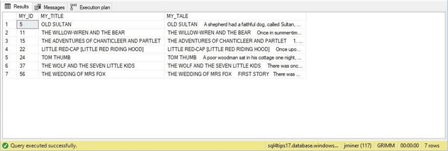 SSMS - Standard Indexing - Description: Looking for the word wolf.