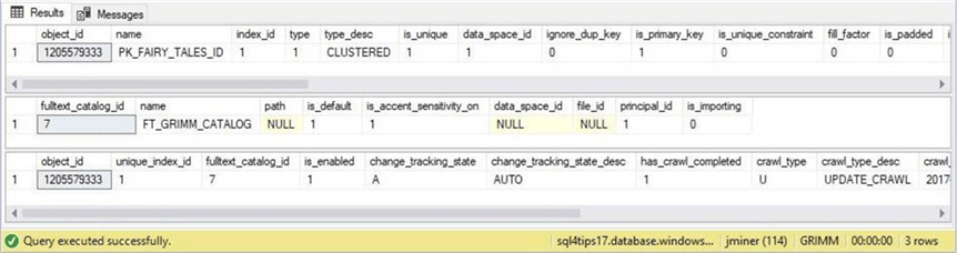 SSMS - Three objects are part of a FTI - Description: A unique index, a full text catalog and a full text index are used in our solution.