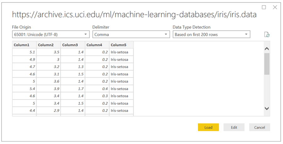 Preview Data in PowerBI - Description: Preview
