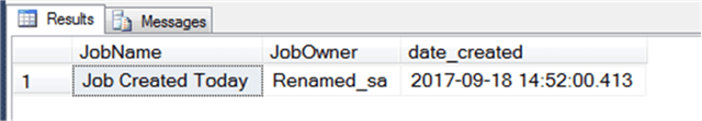 Query Result Showing Job Created Within the Last Day