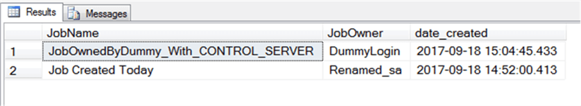 Query Returns which focus on jobs owned by sysadmin or CONTROL SERVER