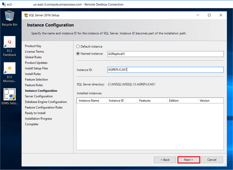 On the Instance configuration dialog box, enter the instance name , for a default instance, the instance name and instance ID would be MSSQLSERVER and click Next.  - Description: On the Instance configuration dialog box, enter the instance name , for a default instance, the instance name and instance ID would be MSSQLSERVER and click Next.
