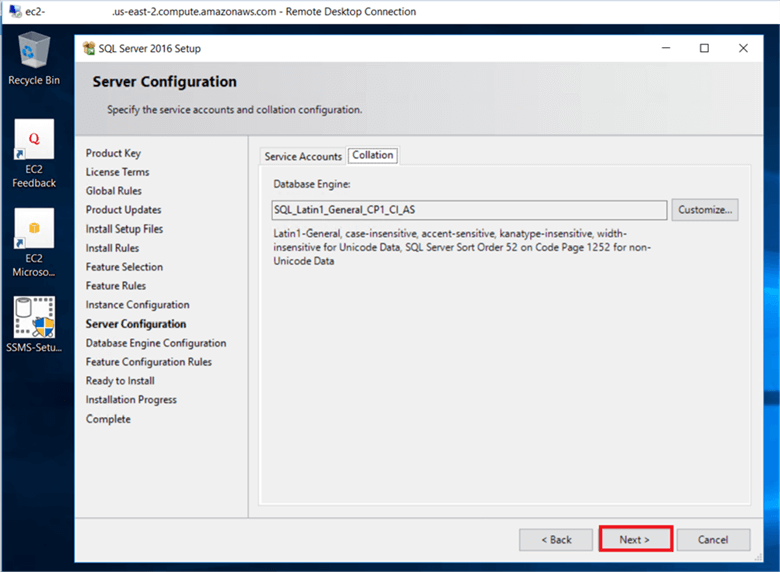 On the Server Configuration dialog box, Change the database collation if you do not want to default collation on Collation Tab. - Description: On the Server Configuration dialog box, Change the database collation if you do not want to default collation on Collation Tab.