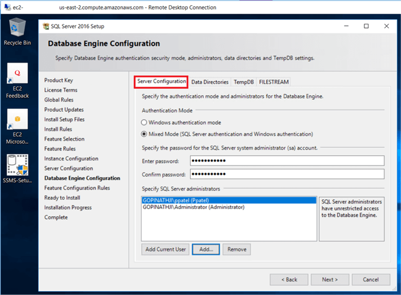 On the Database Engine Configuration dialog box, under the Server Configuration tab, select Windows authentication mode or Mixed Mode (SQL server authentication and Windows authentication) in the Authentication Mode section. If need to change it you can change it later after the installation is complete.  - Description: On the Database Engine Configuration dialog box, under the Server Configuration tab, select Windows authentication mode or Mixed Mode (SQL server authentication and Windows authentication) in the Authentication Mode section. If need to change it you can change it later after the installation is complete. 