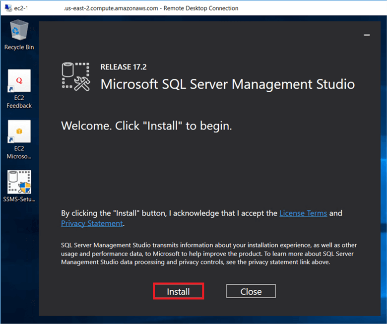 On the Microsoft SQL server Management Studio dialog box, Click on Install to start SSMS installation. - Description: On the Microsoft SQL server Management Studio dialog box, Click on Install to start SSMS installation.